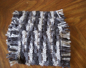 Raider Mug Rugs, Set of Four, Crocheted, Gray, Measures 8 inches by 4 inches.