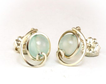 Light Blue Chalcedony Gemstone Stud Earrings Fine Silver, Small Unique Asymmetrical Wire Studs, Silver Wire Light Blue Stud Earrings