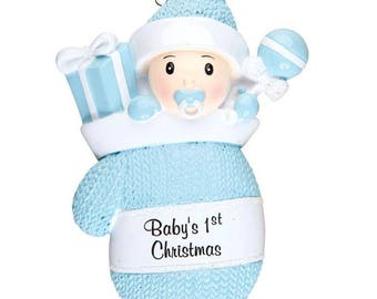 Baby Boy In Mitten Personalized Christmas Ornament