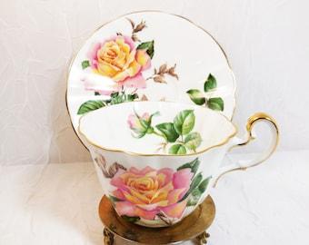 Peace Rose Tea Cup & Saucer, Adderley, Fine Bone China, Vintage Teacup