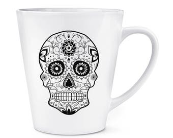 Black Sugar Skull 12oz Latte Mug Cup