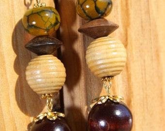 """3"""" L Dragon Agate N Wood Dangle earrings"""