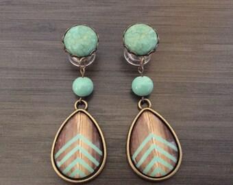0g Dangle Plugs 4g, 2g Gauged Earrings Mint Chevron Wood Pattern Teardrop Plugs 6g Ear Plugs, 00g Dangly Body Jewelry