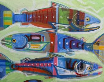 Salmon Trio Geo , artwork, painting, original,