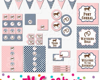 PONY Birthday Party Printable Decorations Package - Horse Party Printables - Cowgirl - Pink Navy Banner Cupcake toppers INSTANT DOWNLOAD Pdf