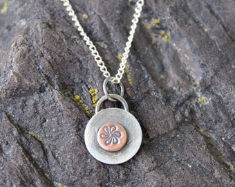 Mixed Metal Pendant Necklace, Stamped Silver Necklace, Hand Stamped Silver, Sterling Silver Necklace, Mixed Metal Necklace