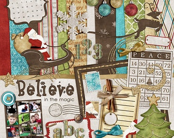 """Christmas Digital Scrapbook Kit - """"Believe in the Magic"""" holiday digital with santa, sleigh, reindeer and ornaments for scrapbook layouts"""