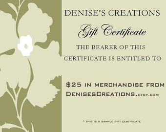 Gift Certificate for 25.00