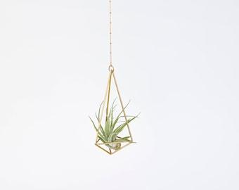 Luftpflanze Pflanzenhänger Himmeli Hexahedron Nr01 mit Luftpflanze   Luftpflanze Halterung   Messing Mobile   Geschenkidee   Luftpflanzen