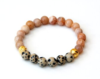 Sunstone bracelet, dalmatian jasper bracelet, sunstone jewelry, dalmatian jewelry, healing bracelet, yoga bracelet, gemstone bracelet