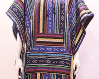 Boho Hippie Reversible hooded pocket nomad aztec striped poncho freesize multi