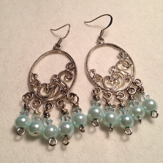 SJC10249 - Silver plated earrings with baby blue pearls and round glass beads
