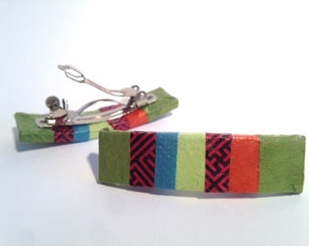 Hanji Mini French Barrettes Hair Pin Striped Green Red Swastika Stainless Steel Barrette (Set of 2)