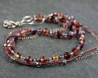 Romantic Bohemian Necklace Raspberry Shimmer, Green and Rose Necklace Triple Strand Necklace Sterling Silver Necklace