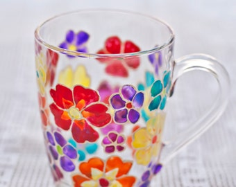 Mug handpainted multicolor flowers coffee tea Rainbow Mothers day Personalized gift for her Stained glass Housewarming gift Inspirating cup