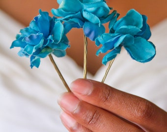 Set of 3 - Rich Blue Blossom Bobbies// High-End Fashion Accessories / Luxury Hair Styling Headpieces for Women / Quality Flower Hair Pins