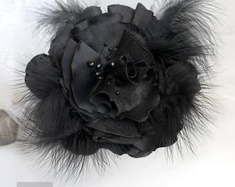 Black Large Hair Flower,  Fascinator With Feathers, Gothic fascinator, Gothic Hair Accessories, Black Fascinator Mini Hat, Black Hair Flower