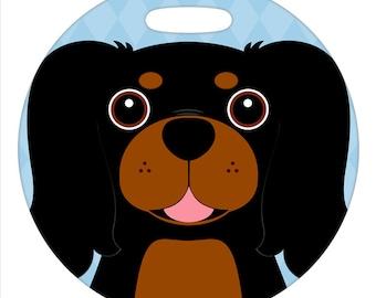 Luggage Tag - Cavalier King Charles Spaniel, Black and Tan - Round Plastic Bag Tag