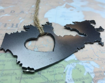Heart Canada Metal  Ornament Travel Memento Souvenir  Gift for Him Her Wedding Rustic Home Fall Decor Canadian Country Father's Day