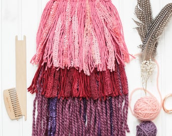 Valentines Day Woven Wall Hanging | Red, Purple and Pink, Holiday Home Decor | Reflect Weaves Gift