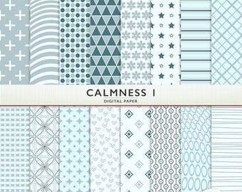 Calmness Digital Paper -  Blue and Gray - Personal and Commercial Use - Instant Download  Cardstock G5066
