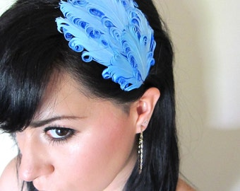 blue feather headband or hair clip - bohemian feather fascinator - hair accessories for women - women's hair accessory - feathers - CIARA