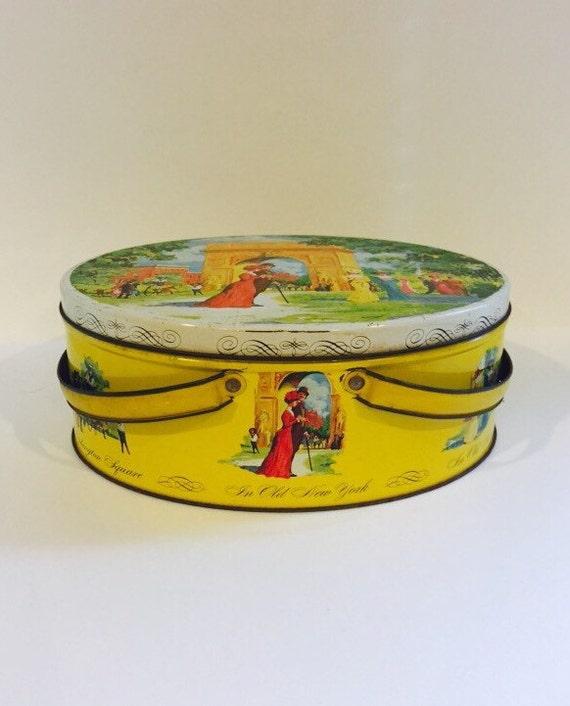 Vintage Mid-Century Washington Square Park NYC Collectible Tin - Yellow Vintage Large Storage Tin with Handles
