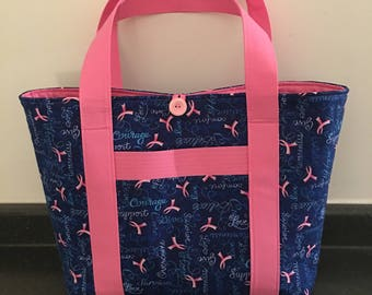 Blue and Pink Cancer Print Large Fabric Tote Back with 7 Large Pockets