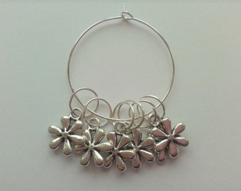 WoollyKits Daisy Stitch Markers (Pack of 6 Charms) for Knitting/Crochet