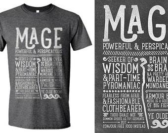 World of Warcraft / WoW inspired T-shirt - MAGE Edition - Unisex / Mens / Ladies / - Dark Heather
