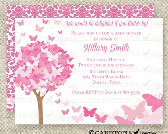 Butterfly Baby Shower Invitation in Pink Personalized Custom Digital Printable File with Professional Printing Option