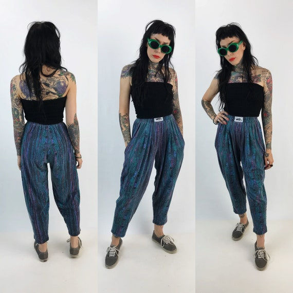 80's/90's All Over Print High Waist Parachute Pants XS Womens - Baggy Elastic Waist Taper Leg Hip Hop Fly Girl High Waist Funky Cotton Pants