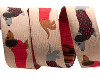 7/8-inch woven jacquard ribbon, dachshunds on beige background.