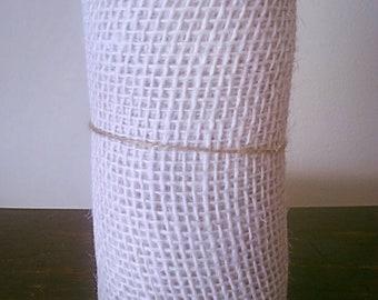 Burlap Ribbon Roll OFF-WHITE, Ivory.  5.5 IN x 15 Ft. White Jute Ribbon. Wreaths,  Bows, Wedding decor. White Mesh, Floral Ribbon. Wrap