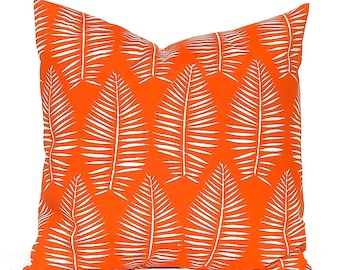 Outdoor Pillow Covers - Orange Pillow Covers - 16 x 16, 18 x 18, 20 x 20 -  Orange Palm Leaf - Bright  - Outdoor Cushions - Patio Decor