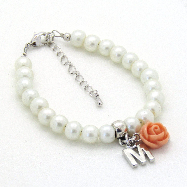 Flower Girl Gift •Personalized Flower Girl Bracelet • Kids Wedding Jewelry • Gift Kids • Flower Girl Jewelry • Baby's First Pearls • Kids