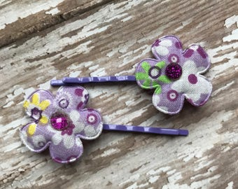 SET of 2--- Beautiful Purple flower Hair Pins  (Children's, Girl,Women)