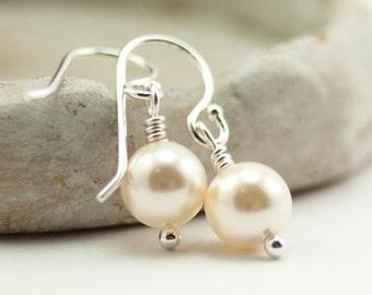 Mother of the Bride Gift Pearl Earrings Gift for Mom June Birthstone Earrings. Cream Swarovski Pearls. Ivory Pearl Earrings Sterling Silver