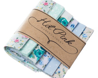 """50 x Green & Blue Patchwork Squares. Beautiful Fabric Charm Pack 4"""" or 5"""""""