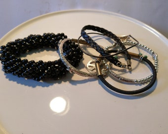 Beautiful Black bracelet bundle Vintage and Handmade