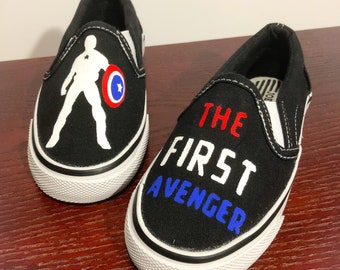 The First Avenger...Captain America...Marvel Superhero...Boy's Hand Painted Canvas Slip on Shoe...Size 11 or Size 12 Available Now