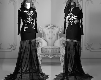 slashed dress Morticia Addams black gothic lace transparent