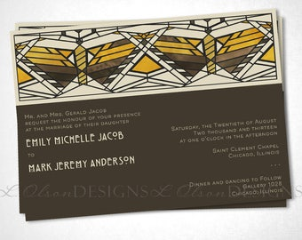 Arts and Crafts / Craftsman Wedding Invite - Butterflies - Digital Printable