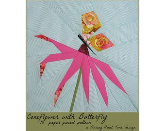 Coneflower with Butterfly Paper Pieced Pattern
