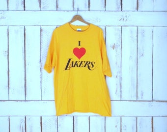 Yellow I love Lakers basketball cotton tshirt/Los Angeles Lakers tshirt/red heart Lakers tee/xlarge