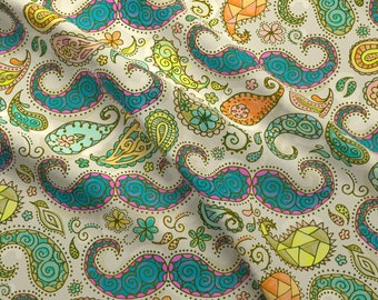 Paisley Mustaches Fabric - Mustache Paisley By Karismithdesigns - Paisley Mustache Colorful Hair Cotton Fabric By The Yard With Spoonflower