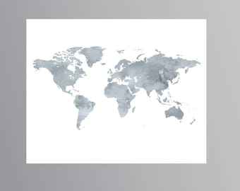 Grey world map etsy printable grey world map watercolor wanderlust poster download map artwork world map digital colorful world map gumiabroncs Gallery