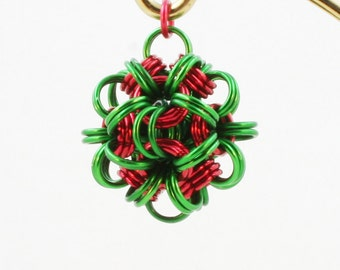 Jewelry Dodecahedron Chain Maille Pendant Green & Red