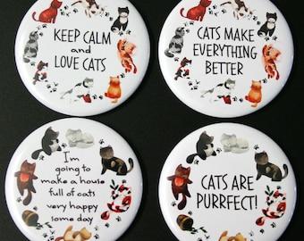 Cat Lovers Fridge Magnet Set of 4 cat lady gift