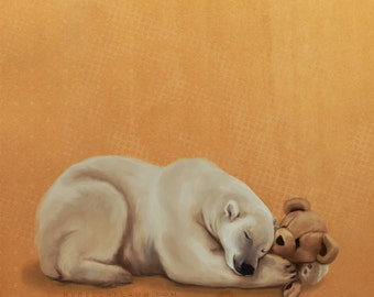 Snuggly polar bear // pigment print, archival, 11x14 // Print of polar bear snuggling teddy bear art